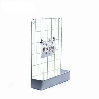 Metal Grid Wall Rack With Tray