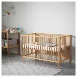 SNIGLAR Baby Cot Beech