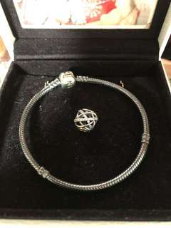 Pandora Oxidized version bangle with charm