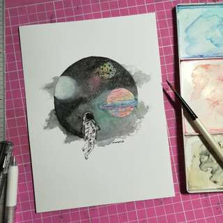 Handmade Watercolour Painting card