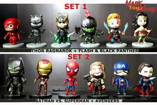Marvel x DC Cosbaby K.O. 6-piece set Bobble-Head Chibi Toy Figures Collection