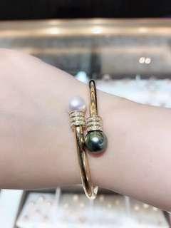 新品🆕️18k鑽石手鐲➕9-10mm海水珍珠雙色珍珠😍