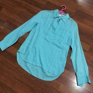 Aqua Long Sleeves Linen Polo