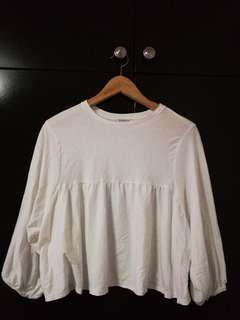 White baby doll top from Zara