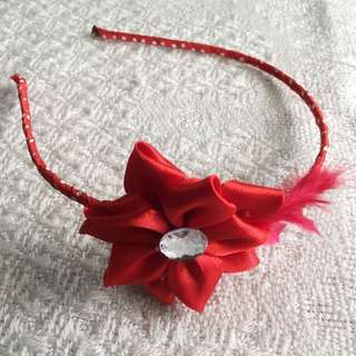 Girls' Red Flower Hairband (3-9 years old)