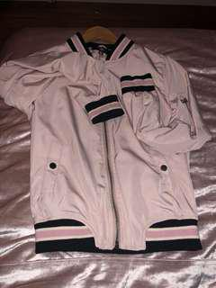 BNWOT Missguided Lightweight Zipped Sleeve Pocket Bomber Jacket Dusty Pink (w black pink and white stripes)