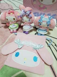 My Melody Three Ring Plushes Set with Pouch