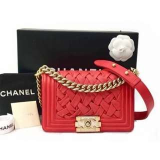 Authentic Chanel Small Boy Woven Flap Bag