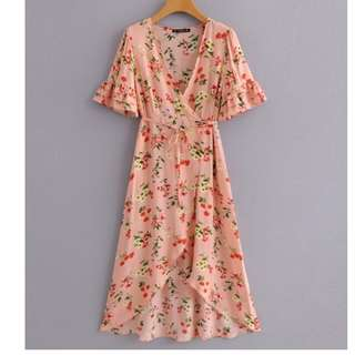Forever 21 Midi Inspired Pink Floral Wrap Dress