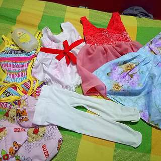 3-6 up dress 3pcs,swimsuit,leggings,cloth diaper,with 200 ml johnson tip to toe.