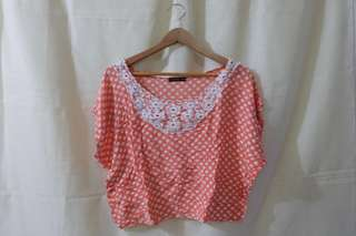 POLKA DOTTED WITH DOILY DESIGN BLOUSE