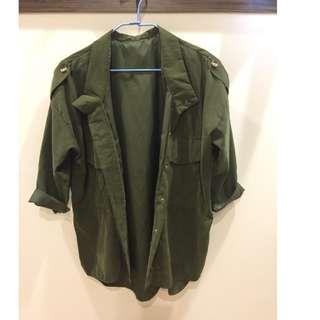 🚚 二手 立領寬鬆軍裝襯衫外套(九成新)