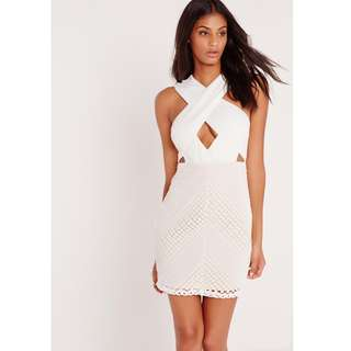 premium cross front lace bodycon dress white
