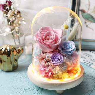 🚚 Preserved real flower glass pot with light