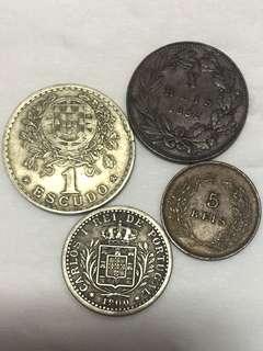 1882-1927年 葡萄牙 錢幣4枚