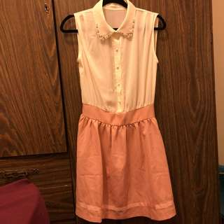 Pink/white button collared dress