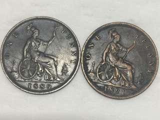 1889及1891年 英國 維多利亞女皇 One Penny 好品相