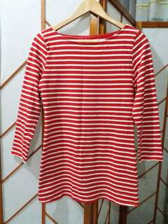 red & white striped blouse 3/4 sleeve