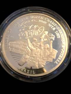2002 DPRK North Korea 5 WON Winner of the 17th World Championship of Football Pure Silver Proof-Struck Large Crown Coin. Rare.