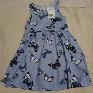 🇺🇸HM blue dress with butterfly 1.5-2Y