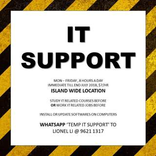 TEMP IT SUPPORT // 1 month // Island // Study IT or work IT related jobs before