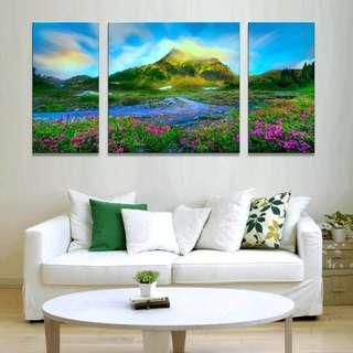 Mountain Lake Triptych Canvas Print
