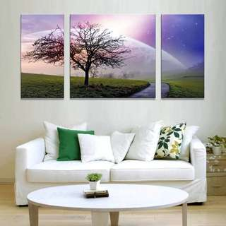 Sunshine Pink Tree Nature Canvas Print