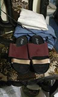 Sandal cewek ungu emas