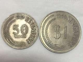新加坡 1968年 One Dollar 及 1967年 50 Cents AU靚品相