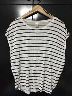 Striped loose muscle top