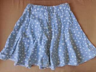Denim Skirt with Stars