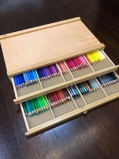 Double decker colour pencil wooden storage box