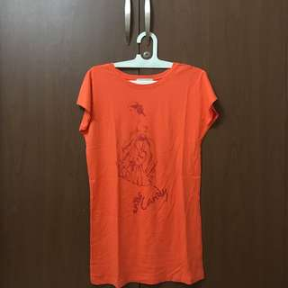 Giordano Tshirt Dress (Orange)