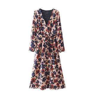 Zara Insipred Long Sleeve Floral Dress