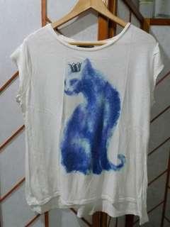 Cat Print cotton shirt