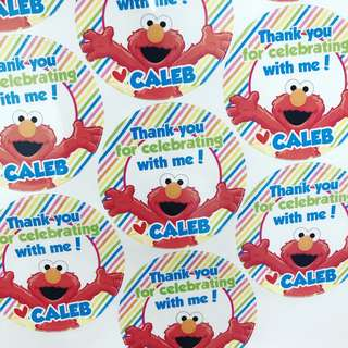 Elmo customised sticker labels for birthday party goodie bag