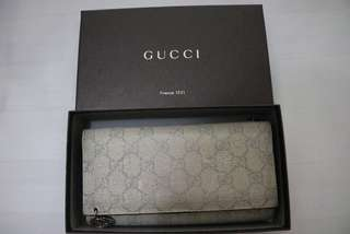 GUCCI Grey/Beige GG Coated Canvas Wallet-Chain Clutch Bag