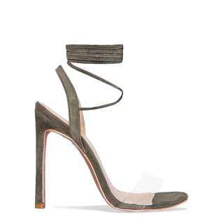 Khaki tie up shoes