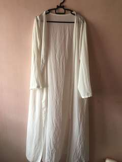 Long Chiffon White Cardigan