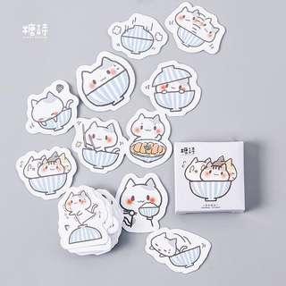 [PO] cat bowl sticker pack