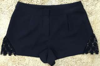 Authentic Forever 21 Pleated Lace Black Shorts