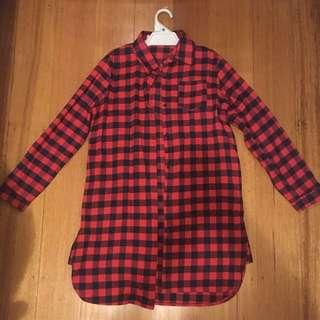 Xuandian Long Plaid Shirt