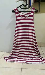 Dress garis putih pink lbh pjg belakang