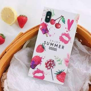 #手機殼IPhone6/7/8/plus/X : 夏日水果方形全包邊軟殼