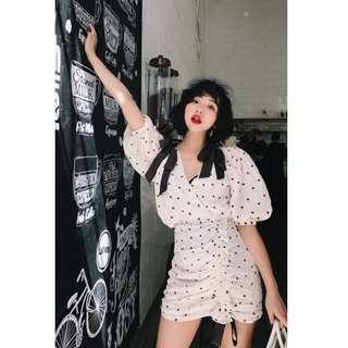 VM 2018夏季新款 仙女復古氣質 夢幻浪漫 泡泡袖 V領合身 連身裙洋裝