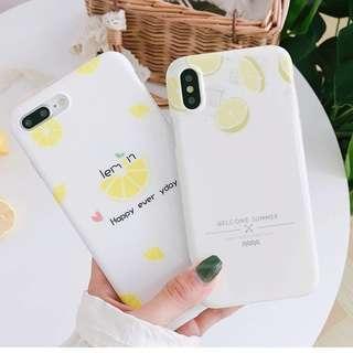 #手機殼IPhone6/7/8/plus/X : 夏日檸檬全包邊軟殼