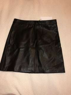 Ena Pelly Black Pebble leather skirt