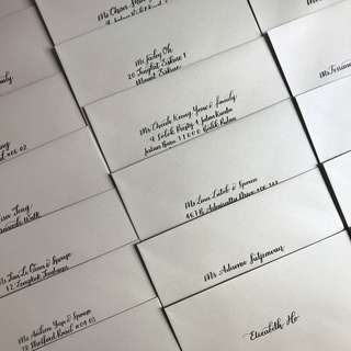 Handlettered calligraphy on envelopes for weddings