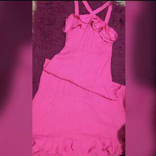 Barbie pink halter maxi