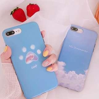 #手機殼IPhone6/7/8/plus/X : 韓風夏日貓瓜全包邊軟殼